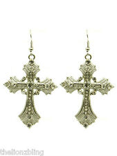 "with Crystal Bling - 2 1/2"" Industrial Gothic Urban Silver Cross Earrings"