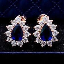 New Rose Gold Plated Pear Shape Sapphire Blue CZ w/Accents Stud Post Earrings