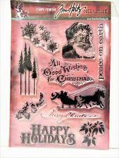 Tim Holtz STAMPTEMBER 2013 Large stamp set NEW Christmas santa holidays sleigh