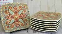 Set of 8 - 222 Fifth RESPLENDENT SPRING Paisley Curved SquareAppetizer  Plates