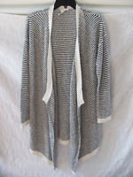 Eileen Fisher Cascading Cardigan Sweater-Org Cotton Boucle Stripe-Sze M-NWT $328