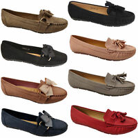 Ladies Slip On Ballerina Womens Suede Look Pumps Flat Bow Tassels Shoes Fashion