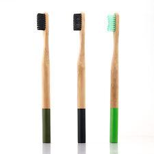 Natural Bamboo Wooden Handle Toothbrush Eco Friendly Charcoal Soft Bristles 3pcs