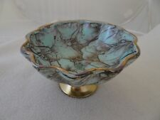 DELFTWARE HAND PAINTED OPEN COMPOTE SCALLOPED CANDY DISH BRASS BASE-NEEDS REPAIR