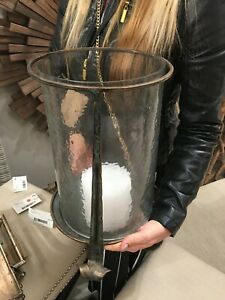 """NICIA FARMHOUSE STYLE XXL 14"""" AGED META HAMMERED GLASS CANDLE HOLDER UTTERMOST"""