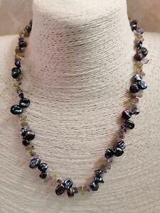 Honora Sterling Silver Keshi Pearl Peridot Amethyst Necklace