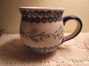 Vintage Polish Mug Blue White Blue Bell Flowers