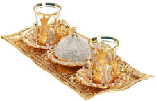 Turkish Tea Glasses Saucers Sugar Bowl Set,Decorated with Crystals & Pearls Gold