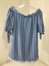 HOT & DELICIOUS WOMENES OFF THE SHOULDER FRINGE TOP STRIPED BLUE/WHITE MED NWT