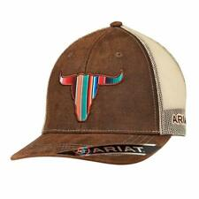 Ariat Western Mens Hat Baseball Cap Serape Bull Head Brown 1517102