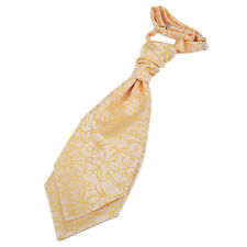 DQT Woven Swirl Gold Formal Wedding Pre-Tied Boys Cravat Free Pin