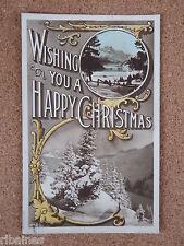 R&L Postcard: Happy Christmas Greetings, Snowy Hill Scene, Milton