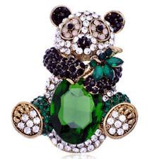 XL Entzückende Brosche Panda Bär mit grünen, weißen und schwarzen Kristallen