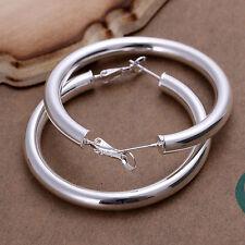 Fashion Women Jewelry  925 Sterling Silver Round Chunky Hoop Dangle Earrings