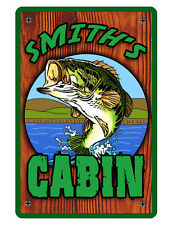 Personalized Fishing Cabin Sign Durable Aluminum No Rust Full Color Fishing #073