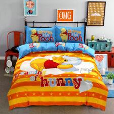 Full Queen Cute Winnie The Pooh Cartoon Bedding Set PillowCase Sheet Duvet Cover