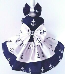DOG DRESS HARNESS  NAVY  WHITE ANCHORS    NEW   FREE SHIPPING