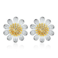 925 Solid Silver Ear Stud Earrings Daisy Sun Flower For Women Wedding Jewelry
