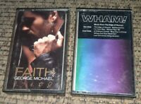 2 cassette tape lot WHAM! Music From The Edge Of Heaven/GEORGE MICHAEL FAITH pop