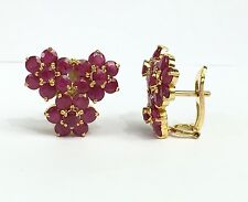 14k Solid Yellow Gold Cluster Three FlowerOmega Back Earrings, Natural Ruby7.5CT