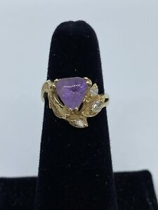 14k Yellow Gold Amethyst & Marquise Diamond Accent Ring SZ 6.25 - 4.7 GRAMS