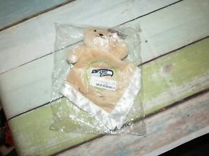 NEW Seattle Seahawks Tan Baby Bear NFL Football Square Lovey Security Blanket