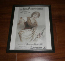 1930's GEORGE BAUERNSCHMIDT BREWING COMPANY FRAMED COLOR AD PRINT