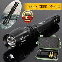 X800 LED CREE XM-L2 Tactique Lampe de poche 2 18650 Piles  chargeur  Porte-clés
