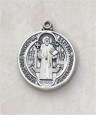 """Sterling Silver Saint Benedict Medal 3/4"""" High + 24""""L Chain Gift Boxed"""
