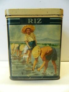 Vintage French Kitchen Food Storage Tin Riz Rice