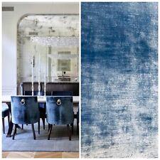 Designer Antique Inspired Velvet Fabric - Jewel Blue - Upholstery