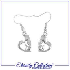 NEW! ECE06 Eternity Collection Cremation Jewellery 'Cat Hearts' Earrings