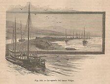 A4989 Peschereccio nel basso Volga - Xilografia - Stampa Antica 1895 - Engraving