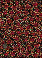 Pretty & Cute Whimsey Tossed Daisy Like Floral Print multi color on black Fabric
