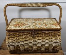 Vintage Singer Wicker Sewing Basket Box Rattan Floral w/ Scissors Tools Etc Wiss
