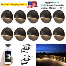 10X WIFI Dimmer Timer Black 50mm 12V LED Deck Stair Step Fence Lights Post Lamp