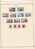 france 1955 stamps page mounted mint & used ref 17502