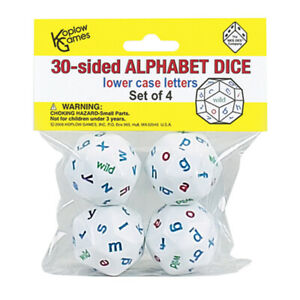 Koplow Games 30-Sided Alphabet Dice, Lowercase, Set of 4