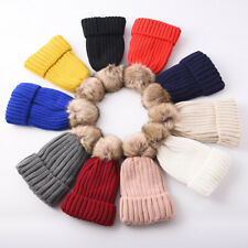 LADIES WINTER WARM HAT - FAUX FUR DETATCHABLE POMPOM RIBBED CABLE KNIT HAT