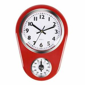 Home Retro Vintage 8.5 Inch Kitchen Time Wall Clock with 60 Minutes Timer Decor