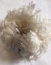 Crystal Palace Splash #201 Ivory Cream White Feather Boa Short Eyelash Yarn 100g