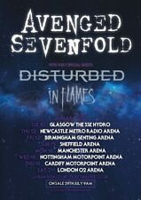 AVENGED SEVENFOLD UK tour 2017 poster / In Flames, Disturbed 18x13 inch