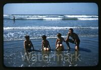 1950s red border Kodachrome photo slide boys at beach  swimmers