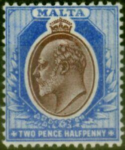Malta 1904 2 1/2d Maroon & Blue SG52 Fine Lightly Mtd Mint
