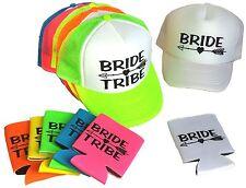 Bride Tribe Set Snapback Mesh Trucker Hat Cap Team Bride Bachelorette Koozie Can