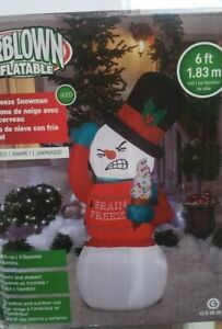 Gemmy 6ft Animated Shivering Brain Freeze Christmas Snowman Inflatable