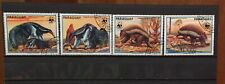 Paraguay,anteater, Wwf,redrawn,S.C.#2252 a-d C.V.$10 1988 issue,complete. Cto