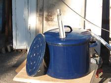 Einkochtopf, Einwecktopf Blau, email, emaliert, mit Einsatzblech und Thermometer