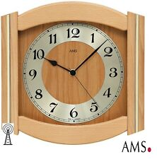 Ams 44 Wall Clock Rc Kitchen Birch Tree Solid Radio Controlled Living Room