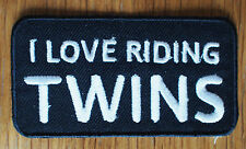 Motorcycle Biker Cloth Patch Badge Leathers Denim Jacket I Love Riding Twins